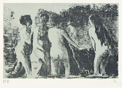 Camille PISSARRO (1830-1903) Théorie de baigneuses. 1897. Zincographie. 198 x 130....