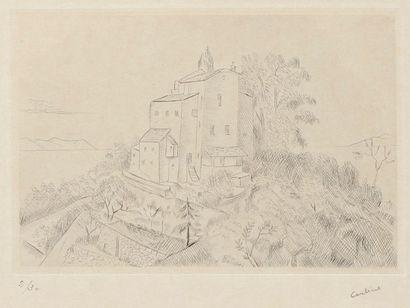 Othon Coubine (tchèque, 1883-1969) Maison forte. Vers 1930. Pointe sèche. 197 x 132....
