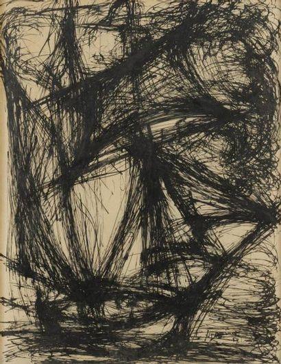 Nicolas DAMIANAKIS (né en 1920) Composition abstraite, 1959 Dessin à l'encre. Signé...