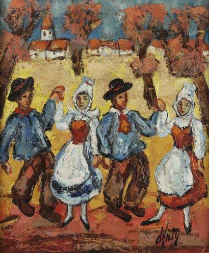 Henri d'ANTY (1910-1998) La Danse Huile sur toile. Signée en bas à droite. 55x46...