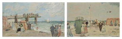 Pierre DAVAIN-LESAGE (1908-?) Sur la plage 2 huiles sur toile et panneau. Signées...