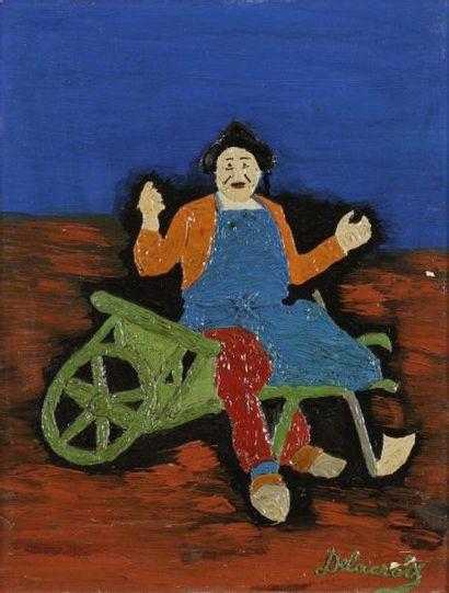 Emilienne DELACROIX (1893-1990) Le Jardinier Huile sur carton. Signée en bas à droite....