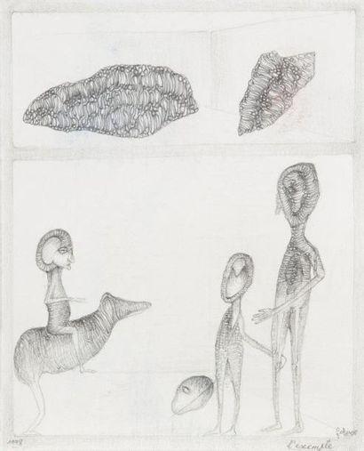 Fred DEUX (né en 1924) L'Exemple, 1998 Dessin à la mine de plomb. Signé, titré et...