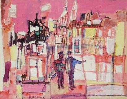 JEAN-CLAUDE DRAGOMIR (1931-1965) A Montmartre Aquarelle et gouache. Signée en bas...