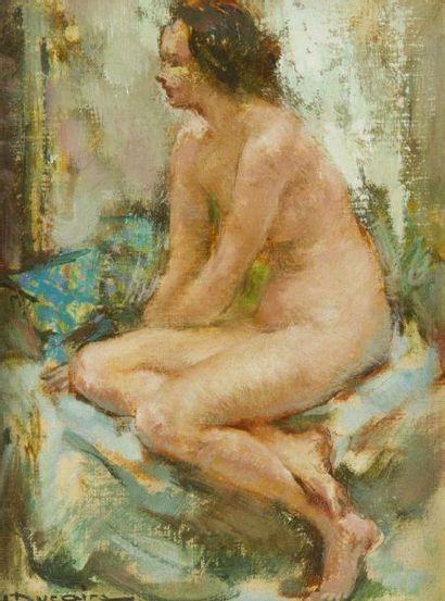 Maryse DUCAIRE-ROQUE (1911-1992) Nu assis Huile sur toile. Signée en bas à gauche....