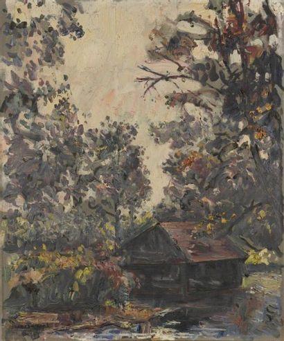 Henri DUMONT (XXe siècle) Cabane en forêt Huile sur toile. Signée en bas à gauche....