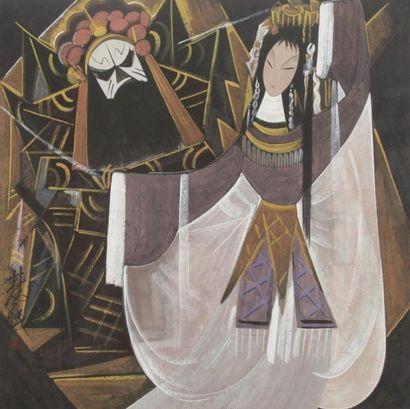 ECOLE CHINOISE Femme et masque Gouache. Porte une signature. 67.5x67.5 cm