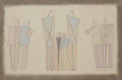 Ernest ENGEL-PAK [belge] (1885-1965) Composition aux musiciens Dessin aux crayons....