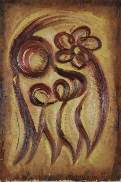 Ernest ENGEL-PAK [belge] (1885-1965) Composition à la fleur, 1930 Huile sur toile....