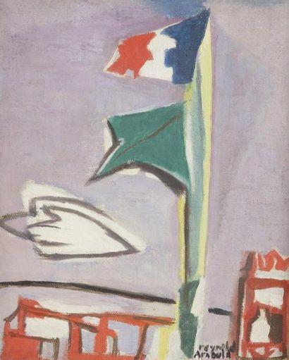 Reynold ARNOULD (1919-1980) Le Mât du Yacht Club, vers 1955 Huile sur toile. Signée...