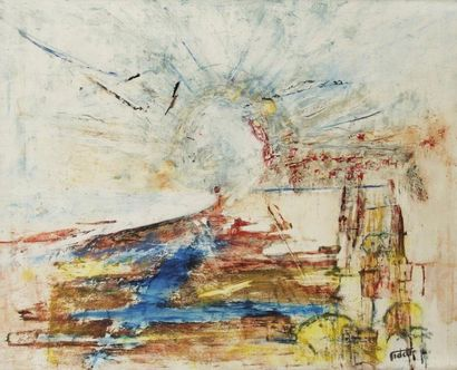 Maurice FIDELIS (XXe siècle) Vision Huile sur toile. Signée en bas à droite. 81x100...