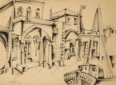 Yannis GAITIS (né en 1923) Village et voilier, 1952 Dessin à l'encre. Signé et daté...