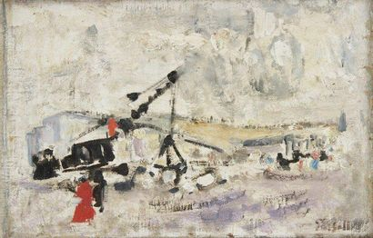 Alexandre Sasha GARBELL [russe] (1903-1970) Le Chantier Huile sur toile. Signée en...