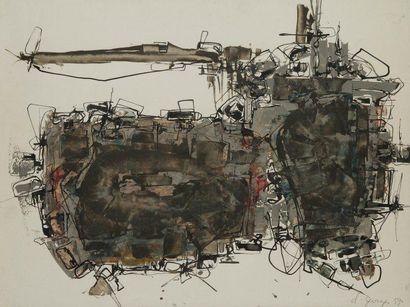 CLAUDE GEORGES (1929-1988) Composition, 1959 Technique mixte sur papier. Signée et...