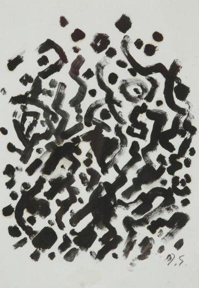 Jacques GERMAIN (1915-2001) Composition Huile sur papier. Porte le cachet du monogramme...