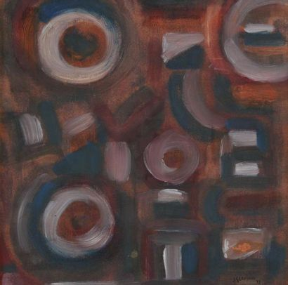 Jacques GERMAIN (1915-2001) Composition, 1978 Gouache sur papier contrecollé sur...
