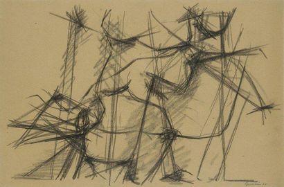Jacques GERMAIN (1915-2001) Composition, 1948 Fusain. Signé et daté en bas à droite....