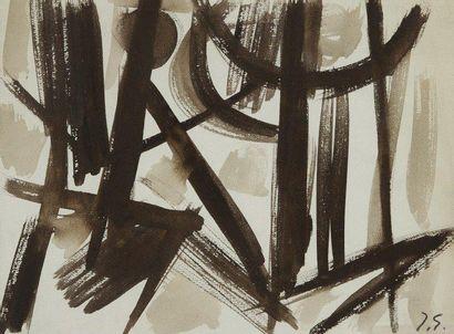 Jacques GERMAIN (1915-2001) Composition Dessin à l'encre et lavis. Signé et Porte...
