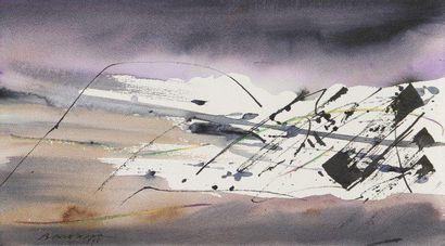 Julius BALTAZAR (né en 1949) Composition, 1990 Aquarelle. Signée et datée en bas...