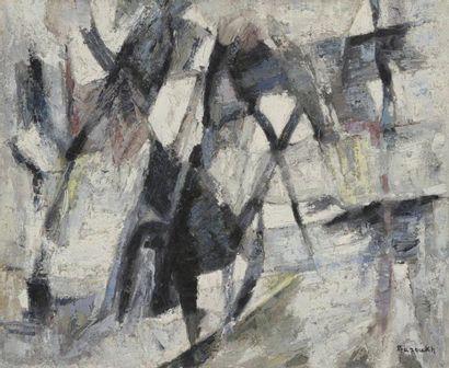 Ézéquiel BAROUKH [égyptien] (1909-1984) Composition, vers 1960 Huile sur toile. Signée...