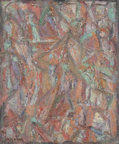 David LAN-BAR [polonais] (1912-1987) Composition abstraite, 1967-70 Huile sur toile....