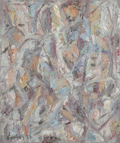 David LAN-BAR [polonais] (1912-1987) Composition, 1967 Huile sur toile. Signée et...