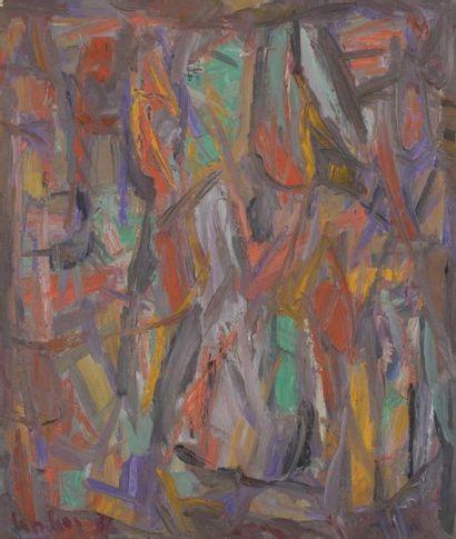 David LAN-BAR [polonais] (1912-1987) Composition, 1966 Huile sur toile. Signée et...