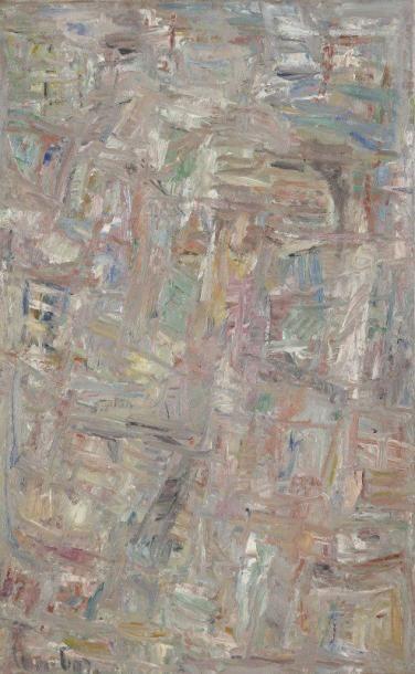 David LAN-BAR [polonais] (1912-1987) Composition, 1957 Huile sur toile. Signée et...