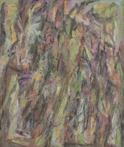 David LAN-BAR [polonais] (1912-1987) Composition, 1982 Huile sur toile. Signée et...