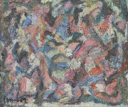 David LAN-BAR [polonais] (1912-1987) Composition, 1972 Huile sur panneau. Signée...