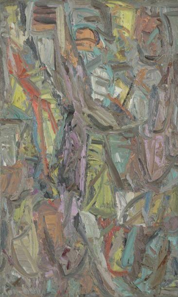 David LAN-BAR [polonais] (1912-1987) Composition, 1961 Huile sur toile. Signée et...