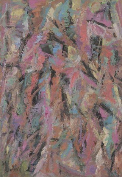 David LAN-BAR [polonais] (1912-1987) Composition, 1981 Huile sur toile. Signée et...