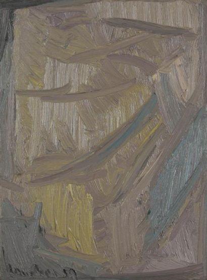 David LAN-BAR [polonais] (1912-1987) Composition, 1959 Huile sur toile. Signée et...