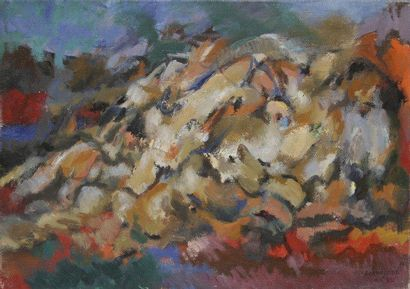 Robert LAPOUJADE (1921-1993) L'Étreinte, 1962 Huile sur toile. Signée et datée en...