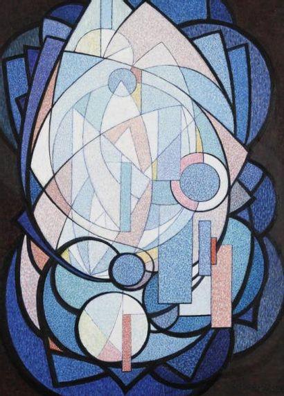Louis LECLERC (né en 1920) Composition Huile sur toile. Signée en bas à droite. 100x73...