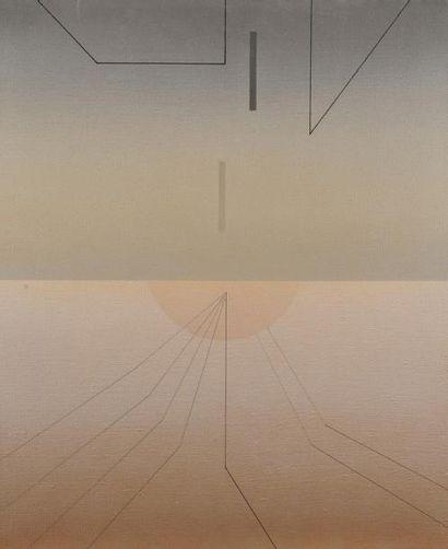 Pierre LEGENDRE (1932-2005) Composition géométrique au soleil Acrylique sur toile....
