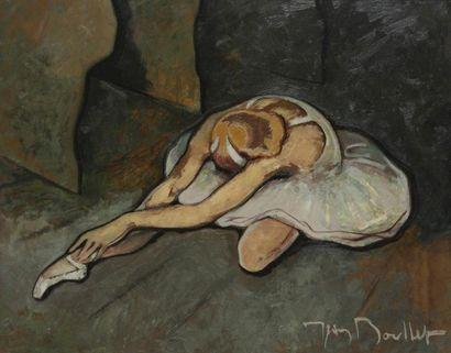 Jean BOULLET (1921-1970) Ballerine Huile sur isorel. Signée en bas à droite. 65x81...