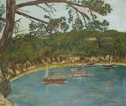 Jacques BOUYSSOU (1926 -1997) Bateaux dans la baie Huile sur toile. Signée en bas...