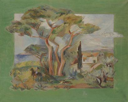 Madeleine BUNOUST (1885-1974) Paysage à la cavalière, 1937 Huile sur toile. Signée...