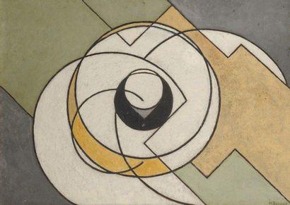 Madeleine BUNOUST (1885-1974) Composition géométrique Huile sur isorel. Signée en...
