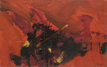 Bernard BYGODT (1939-2004) Composition, vers 1966 Huile sur panneau. Signée en bas...