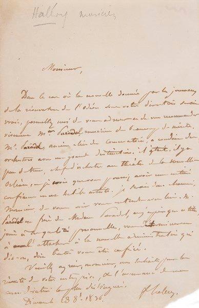 MUSIQUE. 4 L.A.S.{BR} Fromental Halévy (1836,...