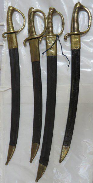 Lot de 4 sabres briquets d'infanterie XIXe,...