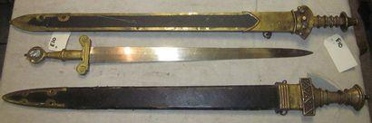 Lot de 3 forts glaives à la Romaine, fabrication...