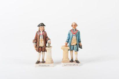 Deux statuettes en faïence émaillée représentant...