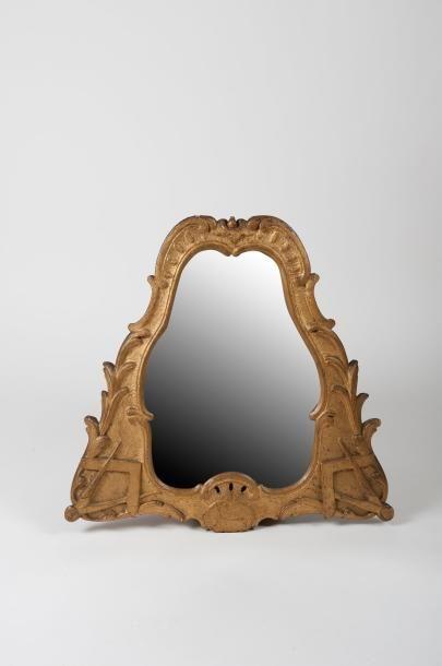 Miroir maçonnique de forme mouvementée orné...