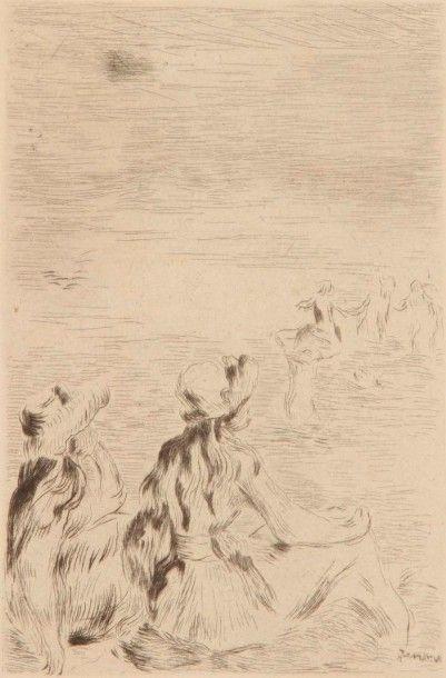 Pierre-Auguste RENOIR (1841-1919) Sur la plage, à Berneval. Vers 1892. Pointe sèche....
