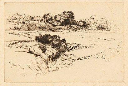 Sir Francis Seymour Haden (1818-1910) Windmill Hill n° 2. 1877. Pointe sèche. 225...