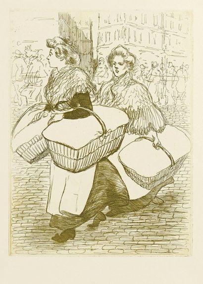 Théophile-Alexandre STEINLEN (1859-1923) Blanchisseuses reportant l'ouvrage. 1898....