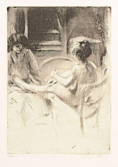 Jacques Villon (Gaston Duchamp, dit) (1875-1963) La Pédicure. 1907. Pointe sèche,...